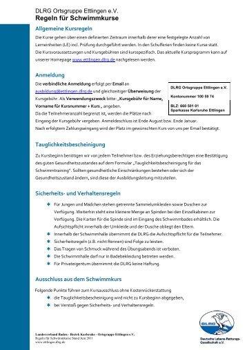 Regeln für Schwimmkurse  - DLRG - Ortsgruppe Ettlingen eV