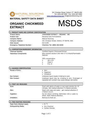 Material Safety Data Sheet - Natural Sourcing, LLC