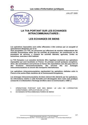 la tva portant sur les echanges intracommunautaires - (CCI) de ...