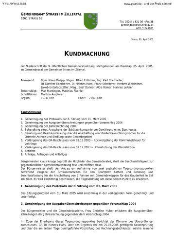 9. Sitzung - 05. April 2005 - .PDF - Gemeinde Strass im Zillertal
