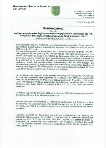 gemeindeamt strass im zillertal 6261 strass 68 - Gemeinde Strass im ...