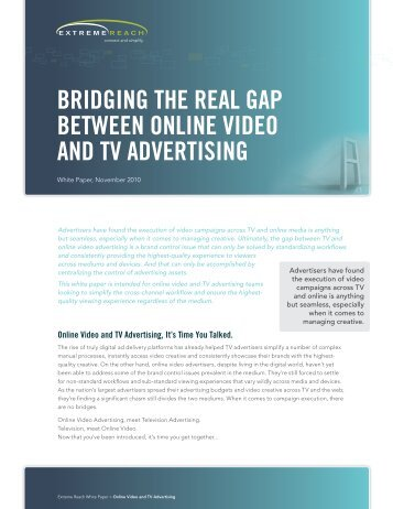 Bridging the real gap Between Online videO and tv ... -  Extreme Reach
