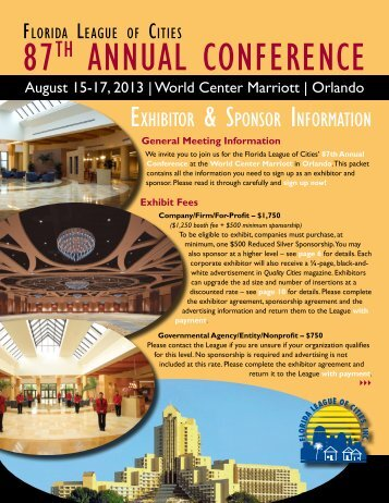 Exhibitor & Sponsor Information Kit - Florida League of Cities