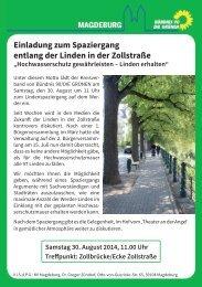 Einladung zum Spaziergang entlang der Linden in der Zollstraße