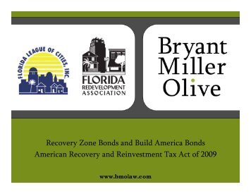 Recovery Zone Bonds and Build America Bonds American ...
