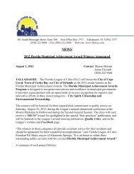 2012 Florida Municipal Achievement Award Winners Announced