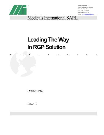 Leading The Way In RGP Solution - Medicals International