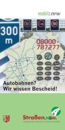 Autobahninfo 08000-787277 - Straßen.NRW