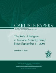 The Role of Religion in National Security Policy - Strategic Studies ...