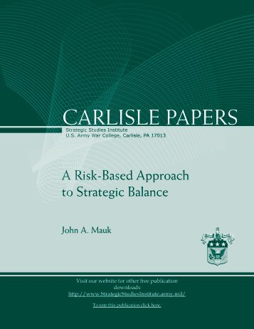 A Risk-Based Approach to Strategic Balance - Strategic Studies ...