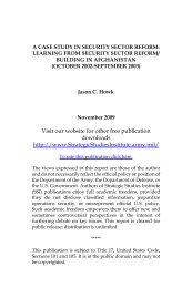 A Case Study in Security Sector Reform - Strategic Studies Institute ...