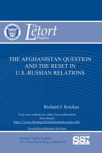 The Afghanistan Question and the Reset in U.S.-Russian Relations