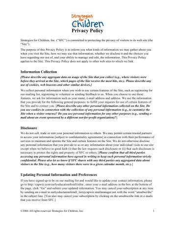 Privacy Policy - Strategies for Children