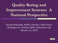 Quality Rating and Improvement Systems: A National Perspective