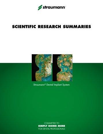 SCIENTIFIC RESEARCH SUMMARIES - Straumann