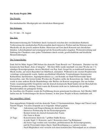 Das Kenia Projekt 2006 Das Projekt: Ein ... - Strausberg-Live