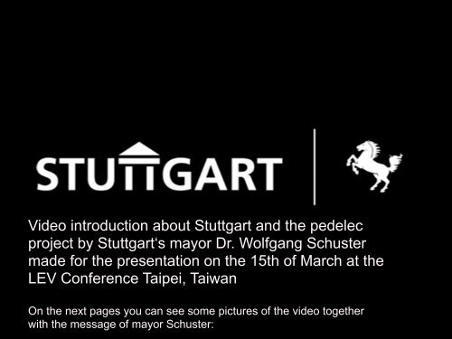 Video introduction about Stuttgart and the pedelec ... - ExtraEnergy.org
