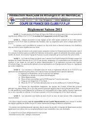 Réglement Coupe de France - Quomodo
