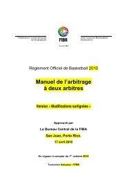 Manuel Arbitrage à 2 Arbitres - Fédération Française de Basketball
