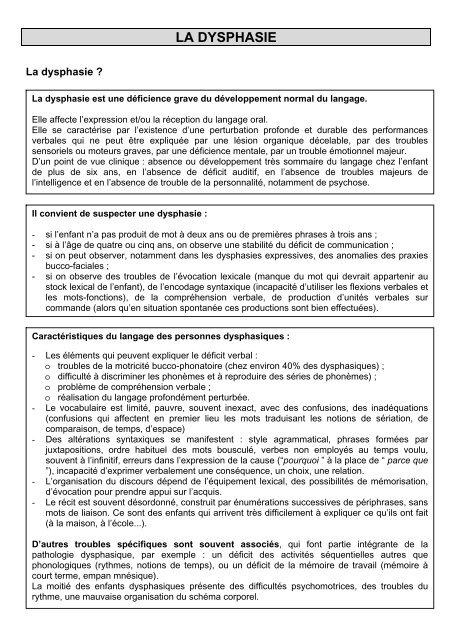LA DYSPHASIE - Quomodo