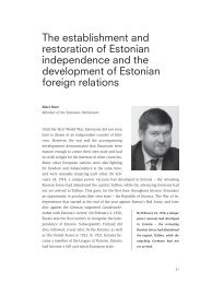 The establishment and restoration of Estonian independence and ...
