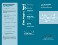 Chemical Dependency for Supervisors - The Actors Fund