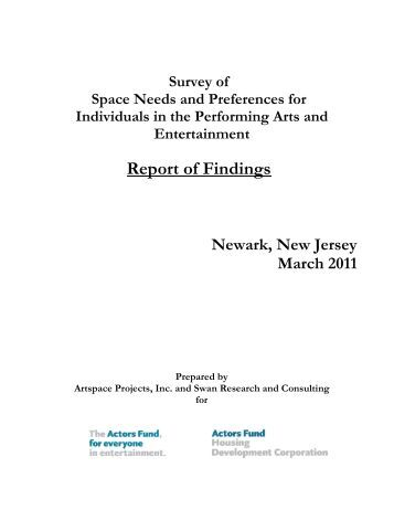 Survey of Space Needs and Preferences for ... - The Actors Fund