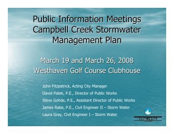Public Information Meetings Campbell Creek ... - City of Oshkosh