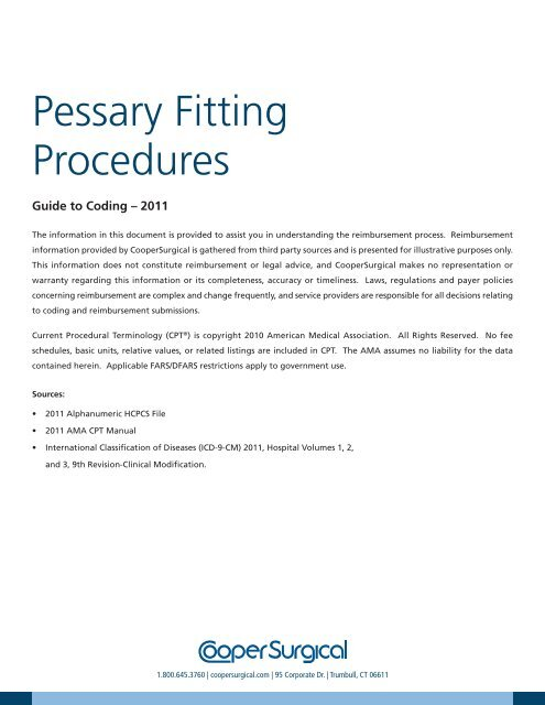 Pessary Fitting Procedures Guide To Coding Coopersurgical