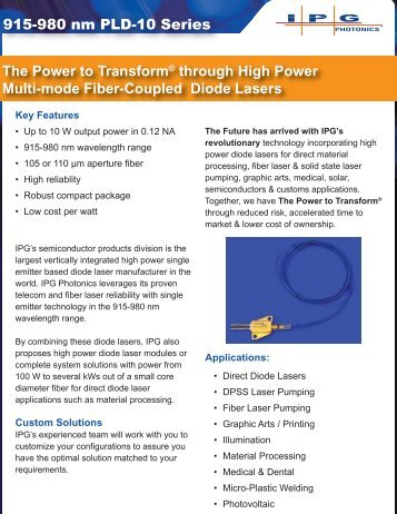 915-980 nm PLD-10 Series The Power to Transform ... - IPG Photonics