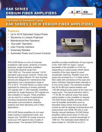 ear series erbium fiber amplifiers ear series 1-30 w ... - IPG Photonics