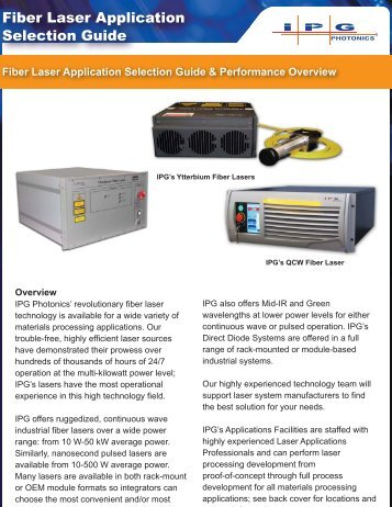 Fiber Laser Application Selection Guide - IPG Photonics