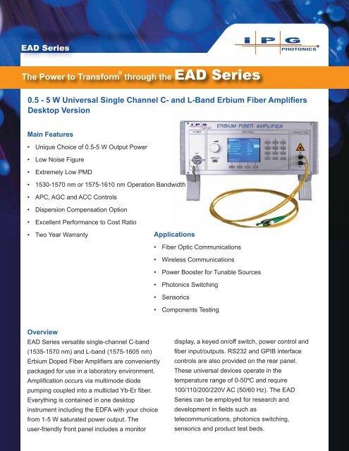The Power to Transform through the EAD Series - IPG Photonics