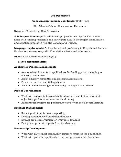 Program Coordinator Job Description | Job Description Conservation Program Coordinator Full Time The