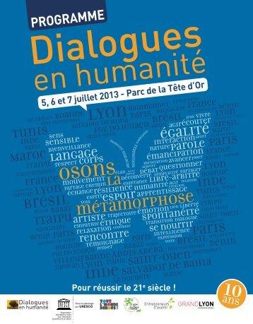 le Programme de Dialogues en Humanité 2013 - Grand Lyon
