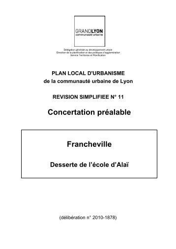 Concertation préalable Francheville - Grand Lyon