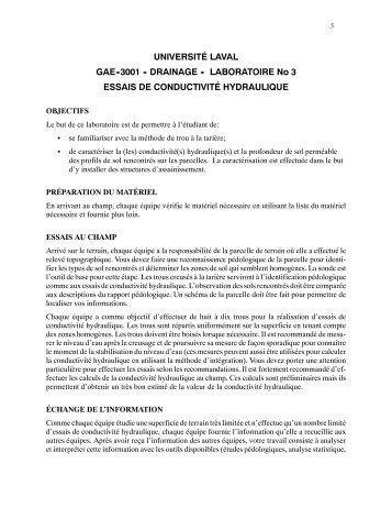 Labo 3 - Essais de conductivité hydraulique - Université Laval