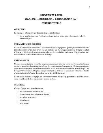LABORATOIRE No 1 STATION TOTALE - Web GRR - Université Laval