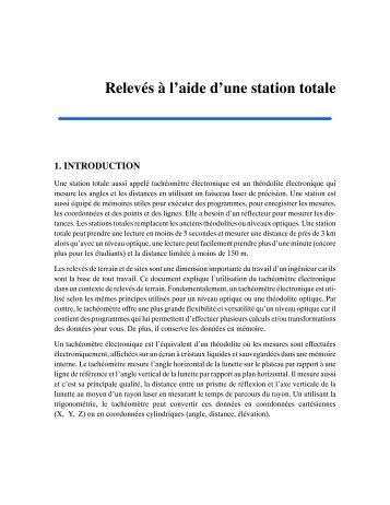 Texte - Relevés à l'aide d'une station totale