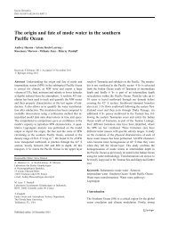 The origin and fate of mode water in the southern Pacific ... - LEGOS