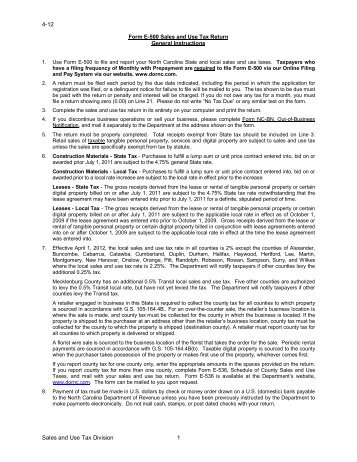Sales and Use Tax Return, Form E-500 Preparation Checklist