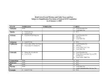 List of Local Wireless Taxes and Fees - Streamlined sales tax