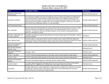 Health Care Item List Addendum Revision Date: January 29, 2007