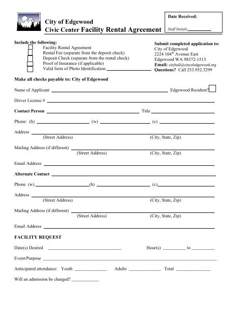 Civic Center Facility Rental Agreement City Of Edgewood