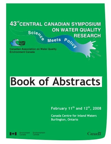 Book of Abstracts - The Canadian Association on Water Quality