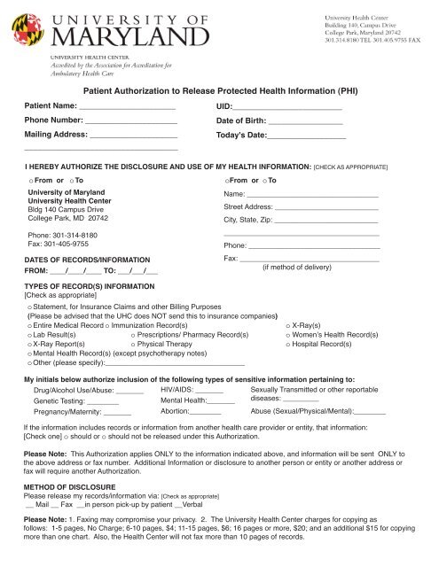 Patient Authorization To Release Protected Health Information Phi