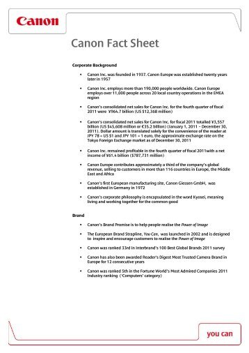Download the Canon Fact Sheet [PDF, 121 KB - Canon Europe