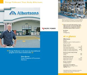 Energy FinAnswer® Case Study: Albertsons - Pacific Power