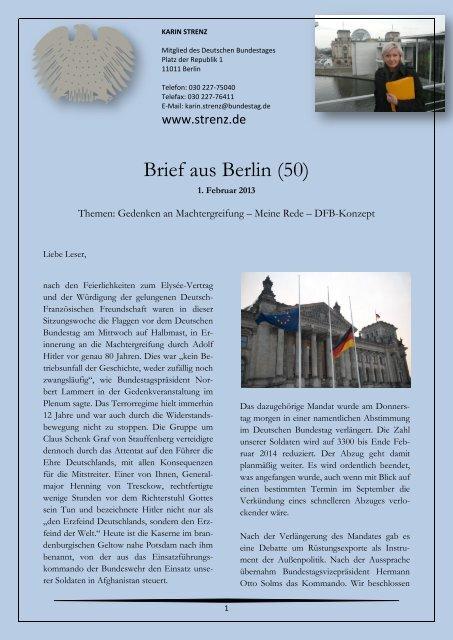 Brief aus Berlin (50) vom 1. Februar 2013: Gedenken ... - Karin Strenz