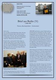 Brief aus Berlin (31) vom 2. März 2012 - Karin Strenz
